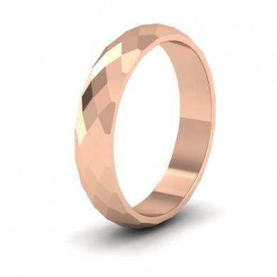 Facetted Harlequin Design 18ct Rose Gold 4mm Wedding Ring