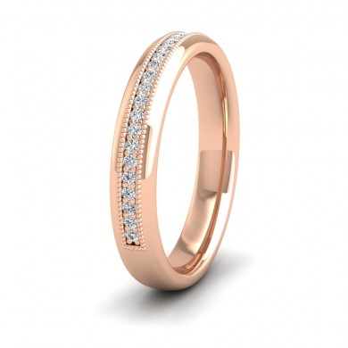 Half Set Ring With Round Brilliant Cut Diamonds With Set In Millgrain Surround (0.14ct) 9ct Rose Gold 3.5mm Ring