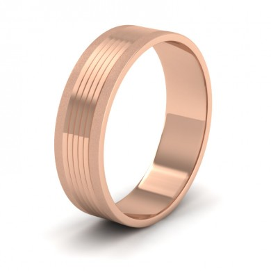 Grooved Pattern 18ct Rose Gold 6mm Flat Wedding Ring