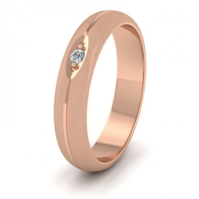 Diamond Set And Centre Line Pattern 18ct Rose Gold 4mm Wedding Ring
