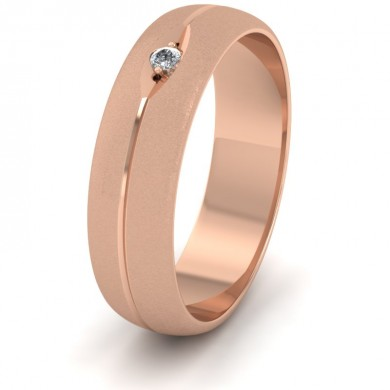 Diamond Set And Centre Line Pattern 18ct Rose Gold 6mm Wedding Ring
