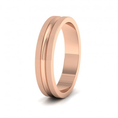 Bullnose Groove Pattern Flat 18ct Rose Gold 4mm Flat Wedding Ring