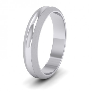Bullnose Groove Pattern 18ct White Gold 4mm Wedding Ring