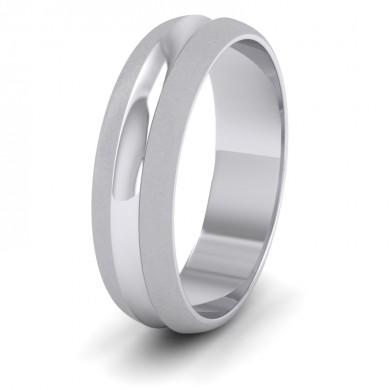 Bullnose Groove Pattern 18ct White Gold 6mm Wedding Ring