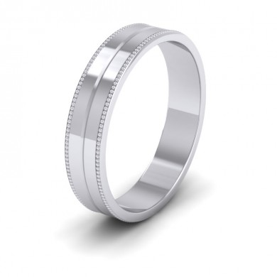 Millgrain And Line Pattern 18ct White Gold 4mm Flat Wedding Ring