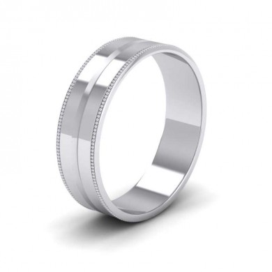 Millgrain And Line Pattern 18ct White Gold 6mm Flat Wedding Ring