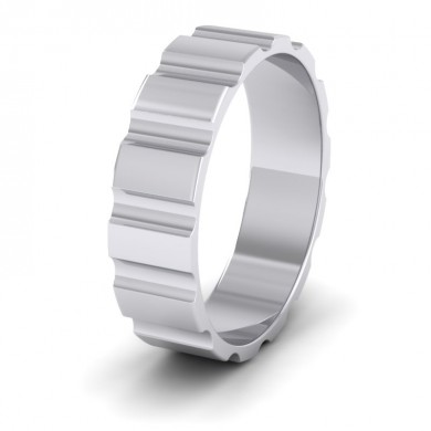 Groove Pattern Flat 14ct White Gold 6mm Flat Wedding Ring