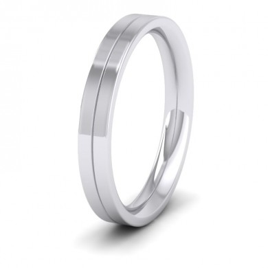 9ct White Gold 3mm Wedding Ring With Line