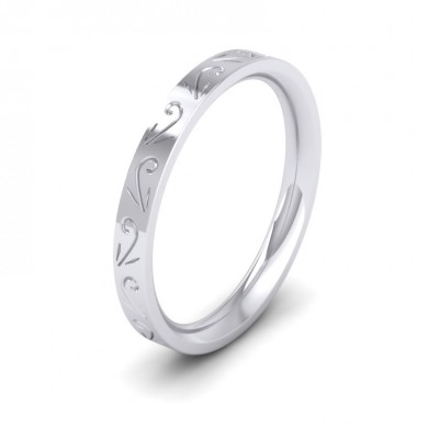Engraved Flat 950 Palladium 2.5mm Wedding Ring
