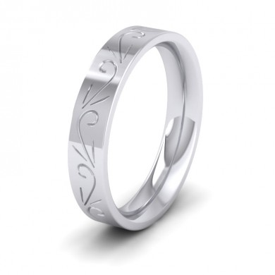 Engraved Flat 950 Platinum 4mm Wedding Ring