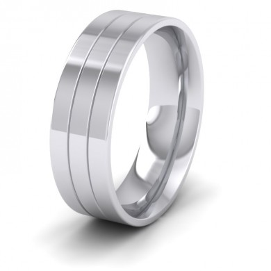 14ct White Gold 7mm Wedding Ring With Lines