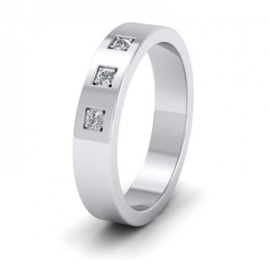 Three Diamonds With Square Setting 18ct White Gold 4mm Wedding Ring
