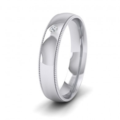 Single Flush Diamond Set And Millgrain Edge 18ct White Gold 4mm Wedding Ring