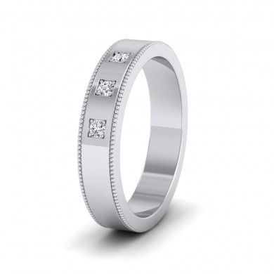 Three Diamonds With Square Setting 18ct White Gold 4mm Wedding Ring With Millgrain Edge