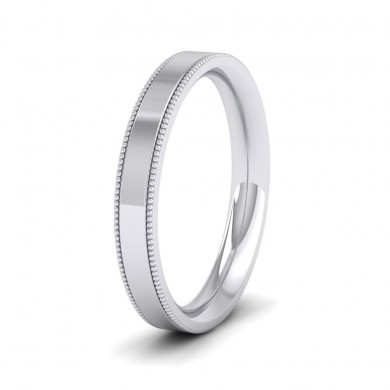 Millgrain Edge 18ct White Gold 3mm Flat Comfort Fit Wedding Ring