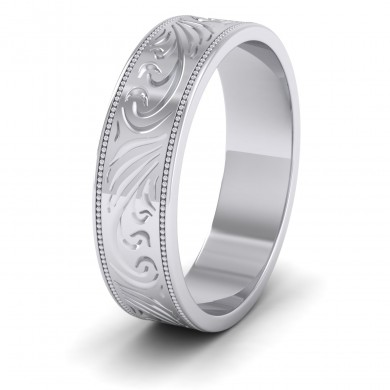 Engraved 18ct White Gold 6mm Flat Wedding Ring With Millgrain Edge