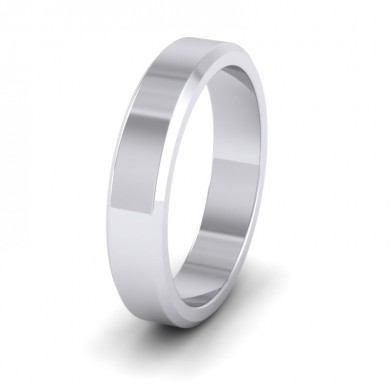 Bevelled Edge 18ct White Gold 4mm Wedding Ring