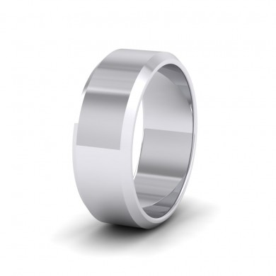 Bevelled Edge Sterling Silver 8mm Wedding Ring