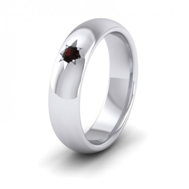 Garnet Star Set 14ct White Gold 6mm Wedding Ring