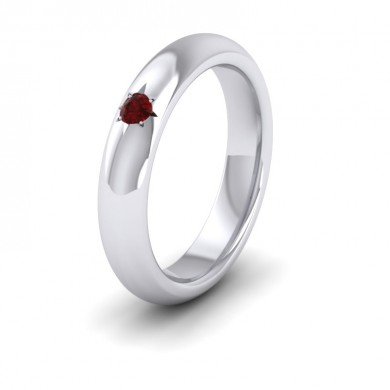 Ruby Star Set 9ct White Gold 4mm Wedding Ring