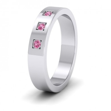 Three Pink Sapphires With Square Setting 18ct White Gold 4mm Wedding Ring