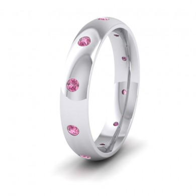 Ten Pink Sapphire Set Flush 950 Palladium 4mm Wedding Ring