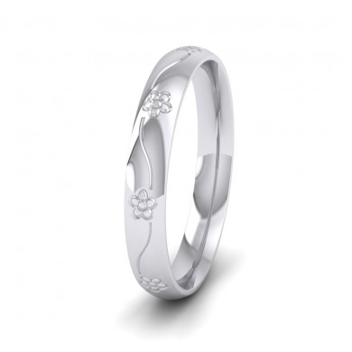 Engraved Flower 14ct White Gold 3mm Wedding Ring