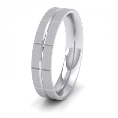 Cross Line Patterned 18ct White Gold 5mm Flat Comfort Fit Wedding Ring