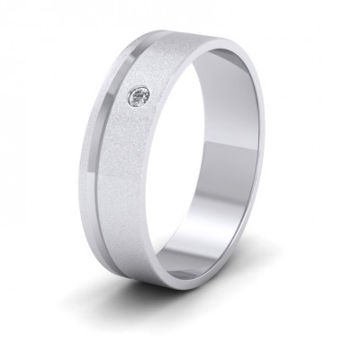 Diamond Set And Assymetric Line Patterned 18ct White Gold 6mm Wedding Ring