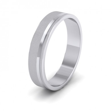 Assymetric Line Pattern 18ct White Gold 4mm Flat Wedding Ring