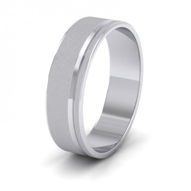 Assymetric Line Pattern 18ct White Gold 6mm Flat Wedding Ring