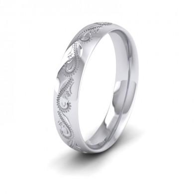 Engraved 18ct White Gold 4mm Wedding Ring