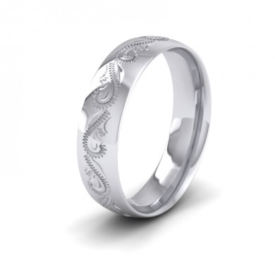Engraved 18ct White Gold 6mm Wedding Ring