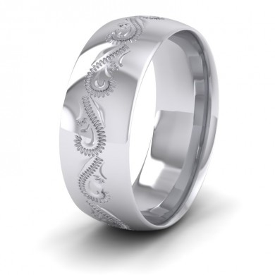 Engraved 18ct White Gold 8mm Wedding Ring