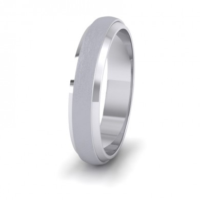 Flat Edge Patterned And Matt Finish 14ct White Gold 4mm Wedding Ring