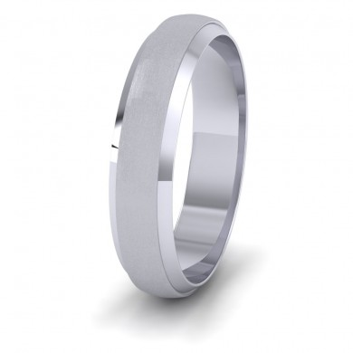 Flat Edge Patterned And Matt Finish 500 Palladium 5mm Wedding Ring