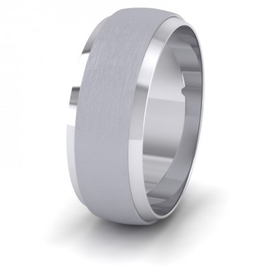 Flat Edge Patterned And Matt Finish 950 Platinum 8mm Wedding Ring