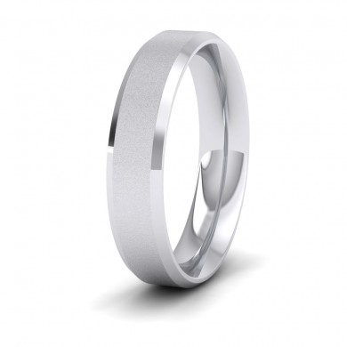 Bevelled Edge And Matt Finish Centre Flat 14ct White Gold 5mm Wedding Ring
