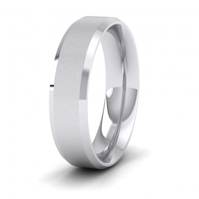 Bevelled Edge And Matt Finish Centre Flat 14ct White Gold 6mm Wedding Ring