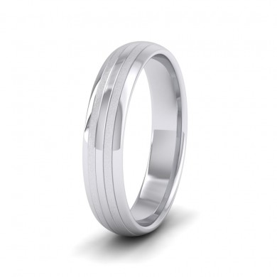 Four Line Pattern With Shiny And Matt Finish 9ct White Gold 4mm Wedding Ring