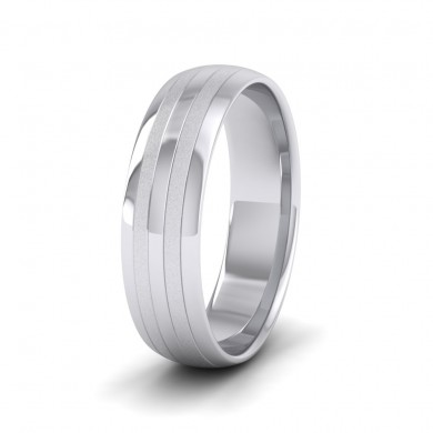 Four Line Pattern With Shiny And Matt Finish 14ct White Gold 6mm Wedding Ring