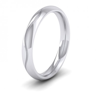 Wave Patterned 14ct White Gold 3mm Wedding Ring