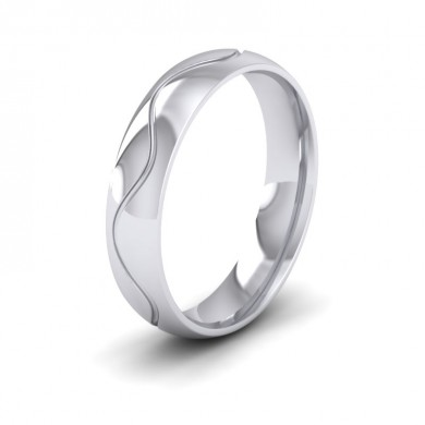 Wave Patterned 14ct White Gold 5mm Wedding Ring
