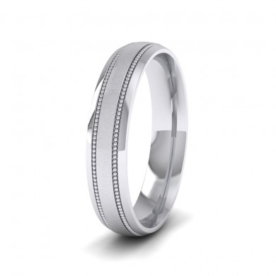 Millgrain And Contrasting Matt And Shiny Finish 14ct White Gold 4mm Wedding Ring