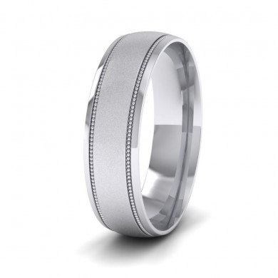Millgrain And Contrasting Matt And Shiny Finish 14ct White Gold 6mm Wedding Ring