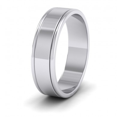 Rounded Edge Grooved Pattern Flat 9ct White Gold 6mm Flat Wedding Ring