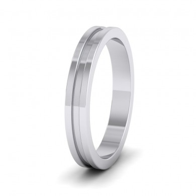 Flat Grooved 14ct White Gold 3mm Flat Wedding Ring