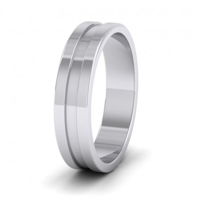 Flat Grooved 9ct White Gold 5mm Flat Wedding Ring