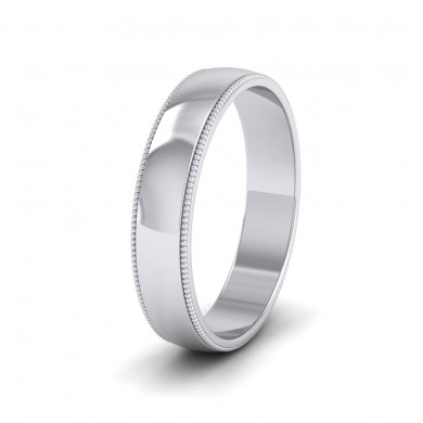Millgrained Edge 18ct White Gold 4mm Wedding Ring