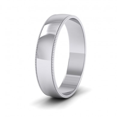 Millgrained Edge 18ct White Gold 5mm Wedding Ring